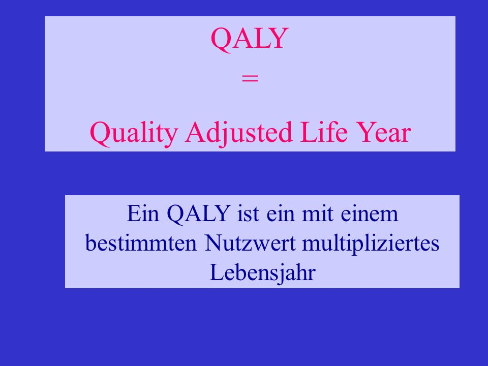 Quality Adjusted Life Year