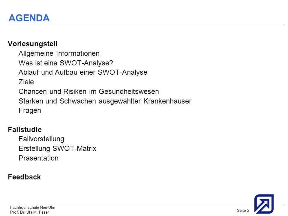 AGENDA Vorlesungsteil Allgemeine Informationen