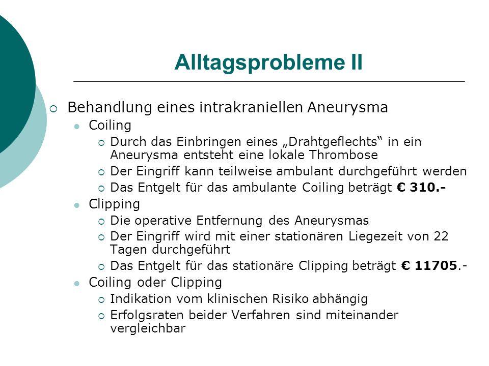 Alltagsprobleme II Behandlung eines intrakraniellen Aneurysma Coiling