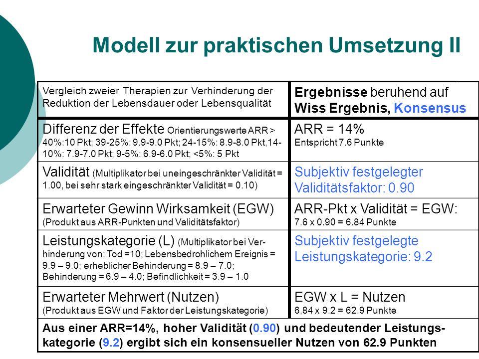 Modell zur praktischen Umsetzung II
