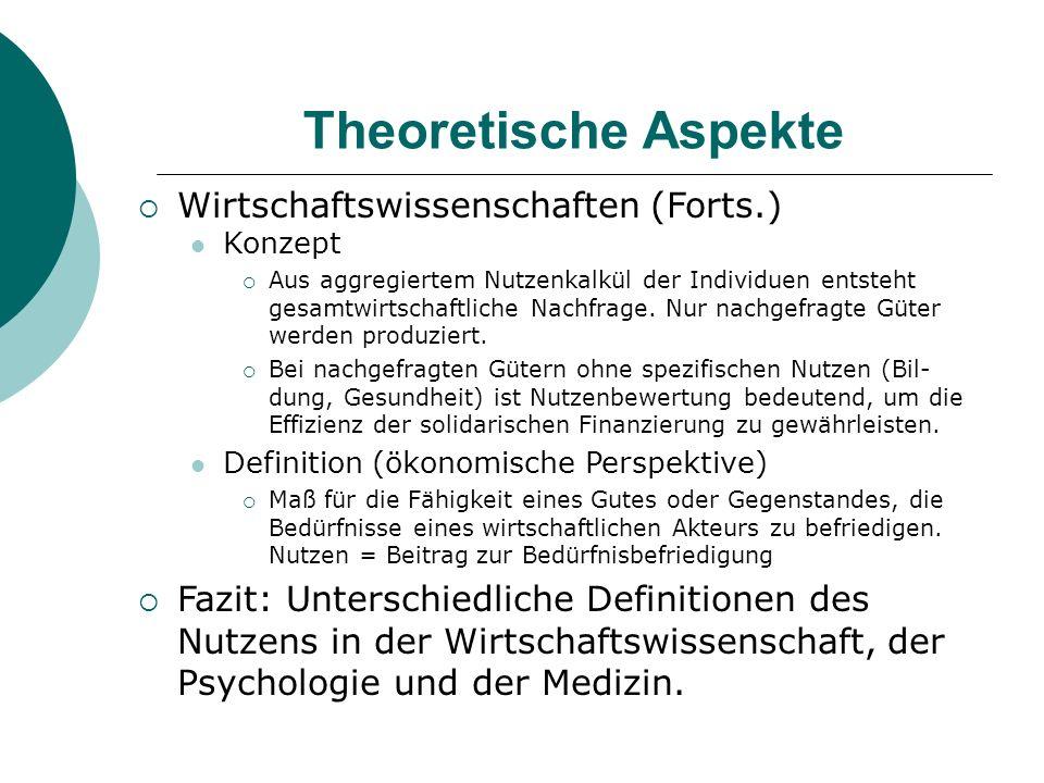Theoretische Aspekte Wirtschaftswissenschaften (Forts.)