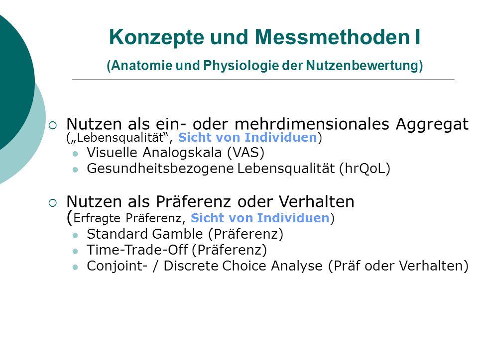 Konzepte und Messmethoden I (Anatomie und Physiologie der Nutzenbewertung)