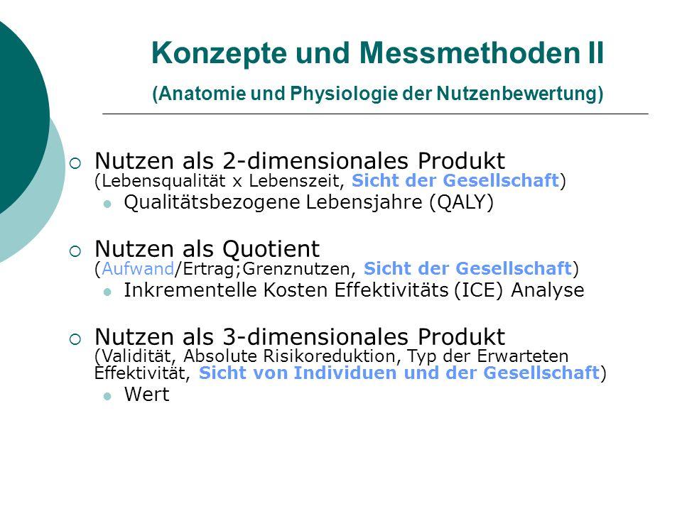 Konzepte und Messmethoden II (Anatomie und Physiologie der Nutzenbewertung)