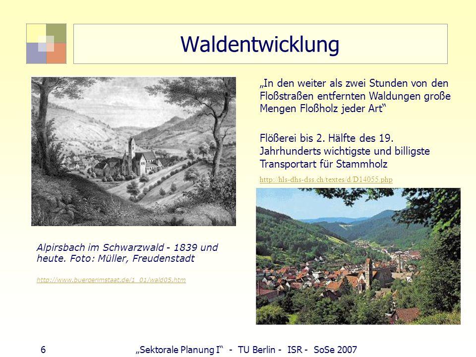 """Waldentwicklung """"In den weiter als zwei Stunden von den Floßstraßen entfernten Waldungen große Mengen Floßholz jeder Art"""