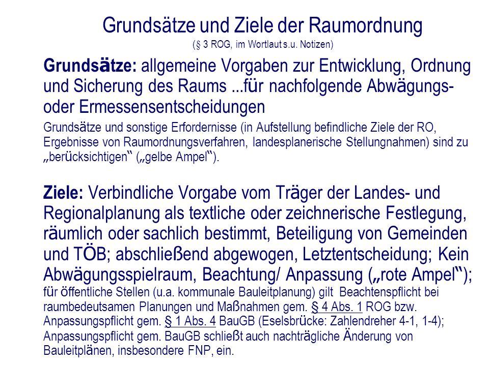 Grundsätze und Ziele der Raumordnung (§ 3 ROG, im Wortlaut s. u