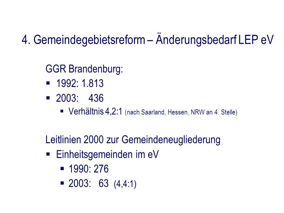 4. Gemeindegebietsreform – Änderungsbedarf LEP eV