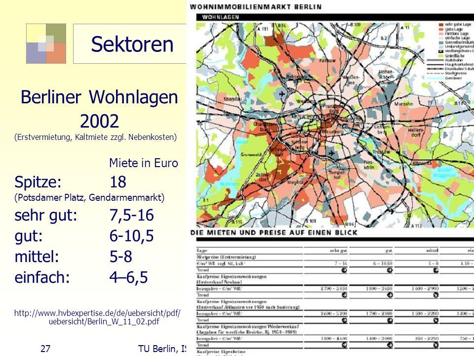 Sektoren Berliner Wohnlagen 2002 Spitze: 18 sehr gut: 7,5-16