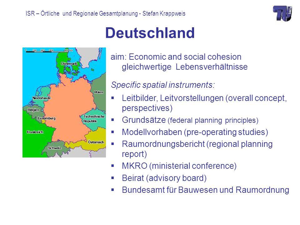 Deutschland aim: Economic and social cohesion gleichwertige Lebensverhältnisse. Specific spatial instruments: