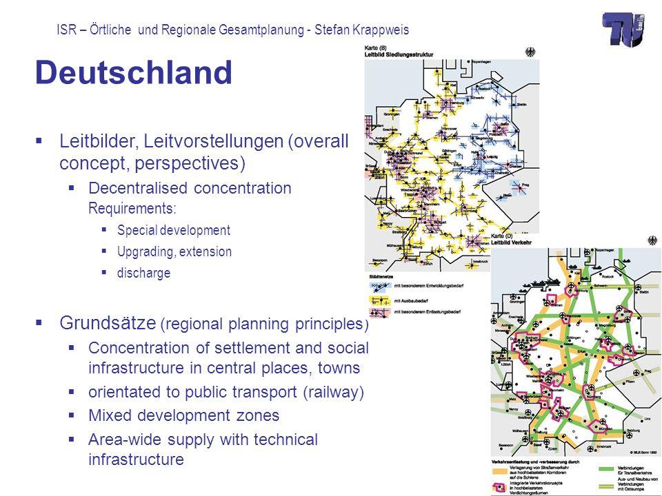 Deutschland Leitbilder, Leitvorstellungen (overall concept, perspectives) Decentralised concentration Requirements: