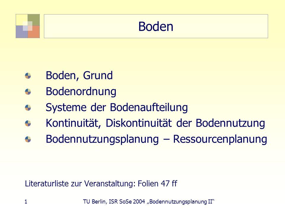 Boden Boden, Grund Bodenordnung Systeme der Bodenaufteilung