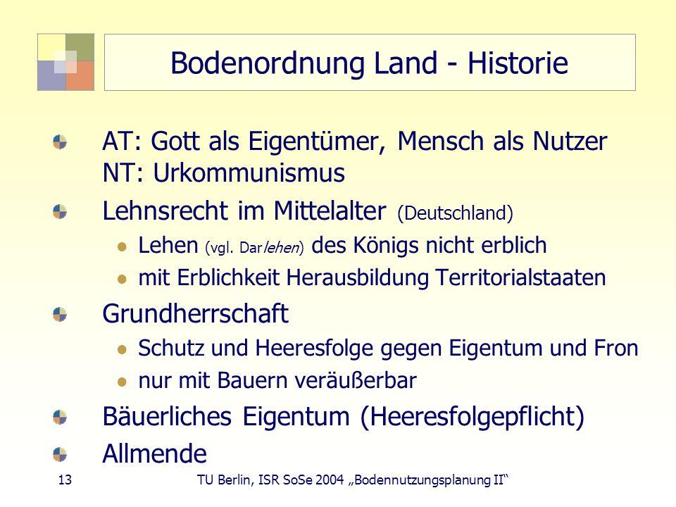 Bodenordnung Land - Historie