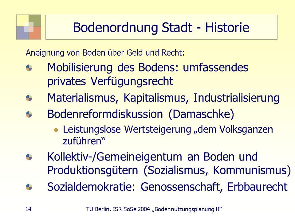 Bodenordnung Stadt - Historie