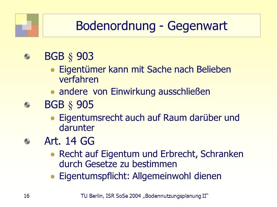 Bodenordnung - Gegenwart