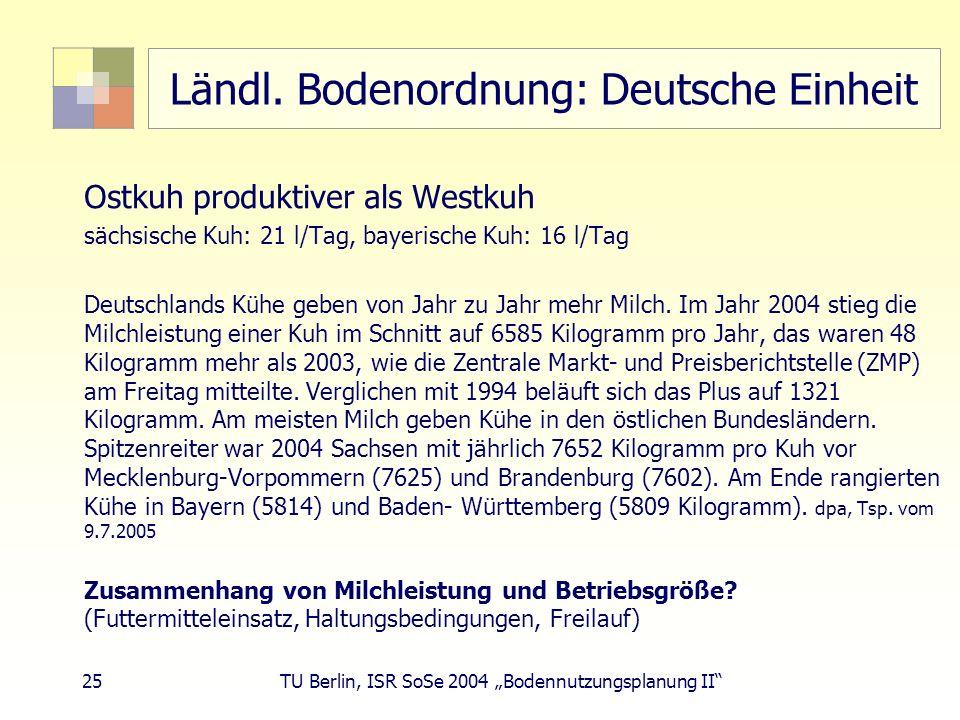 Ländl. Bodenordnung: Deutsche Einheit