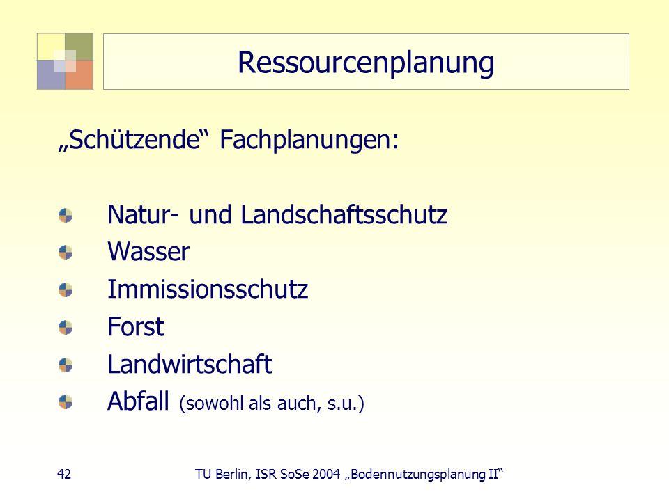 """Ressourcenplanung """"Schützende Fachplanungen:"""