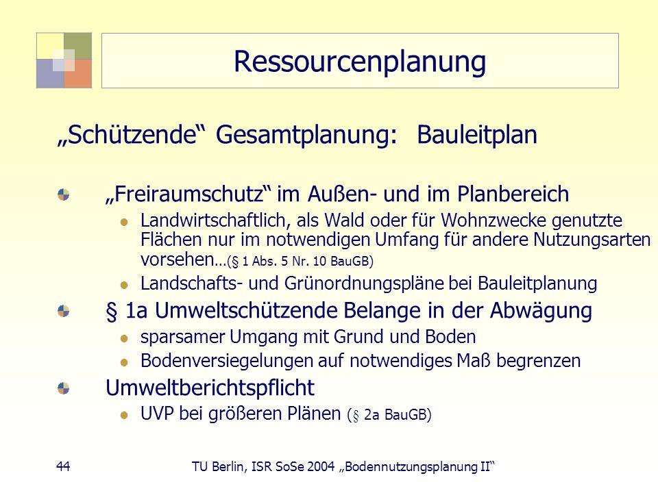 """Ressourcenplanung """"Schützende Gesamtplanung: Bauleitplan"""