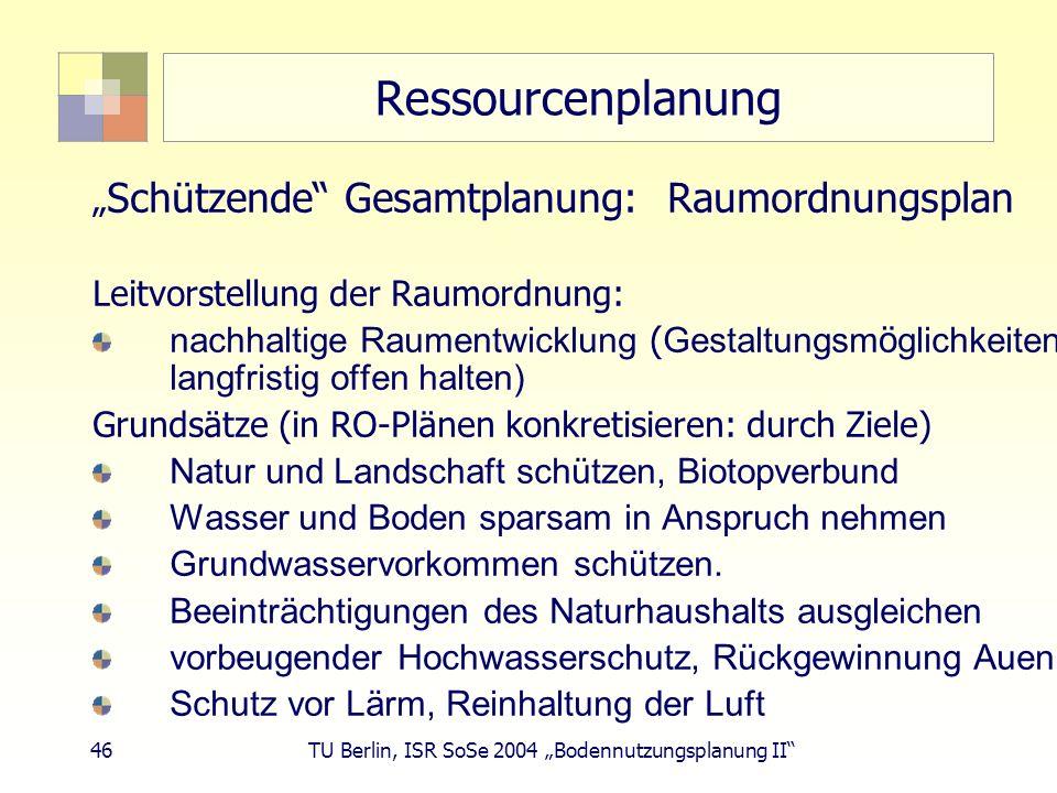 """Ressourcenplanung """"Schützende Gesamtplanung: Raumordnungsplan"""