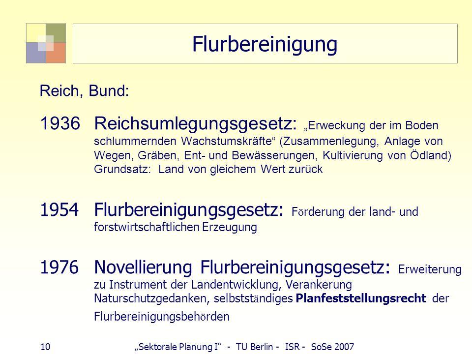 Flurbereinigung Reich, Bund: