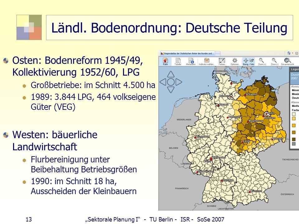 Ländl. Bodenordnung: Deutsche Teilung