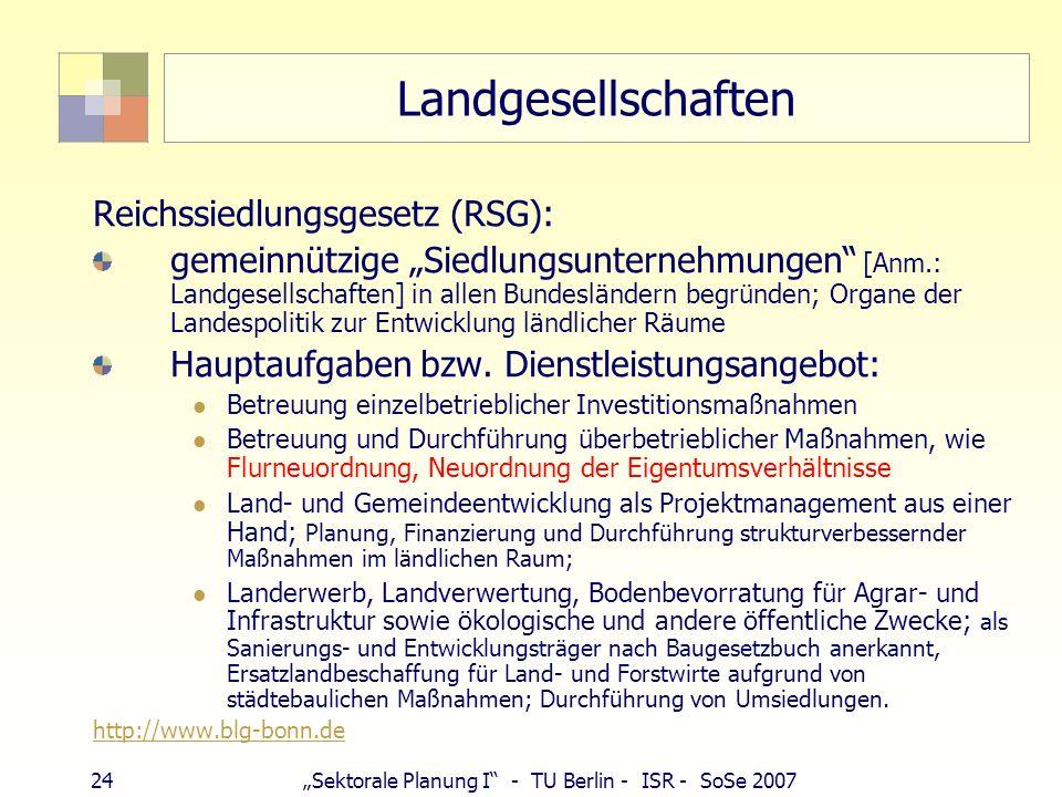 Landgesellschaften Reichssiedlungsgesetz (RSG):