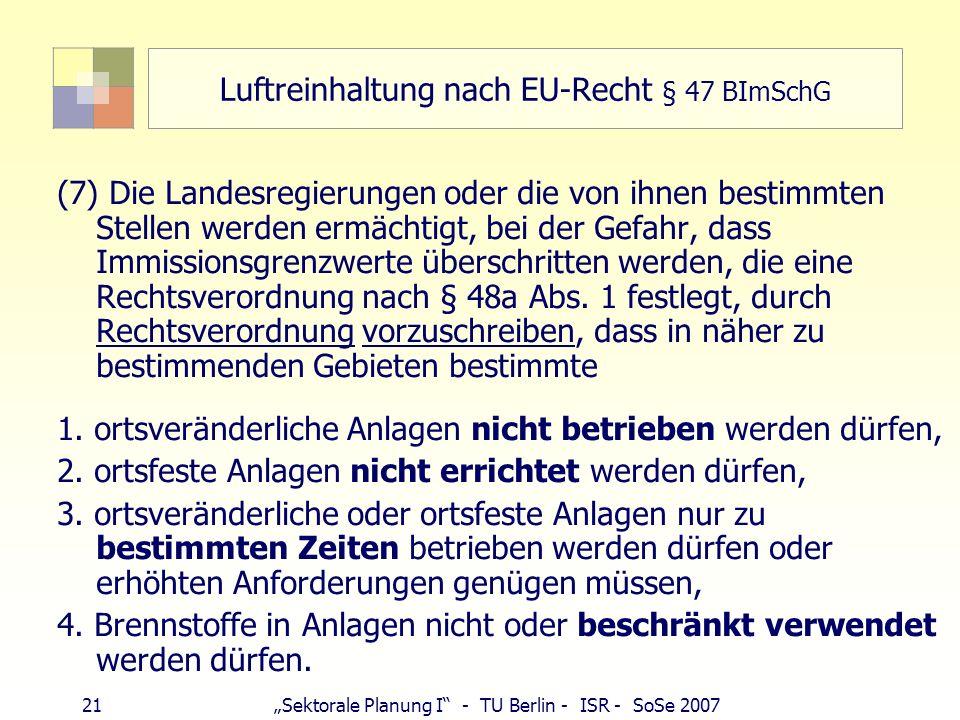 Luftreinhaltung nach EU-Recht § 47 BImSchG