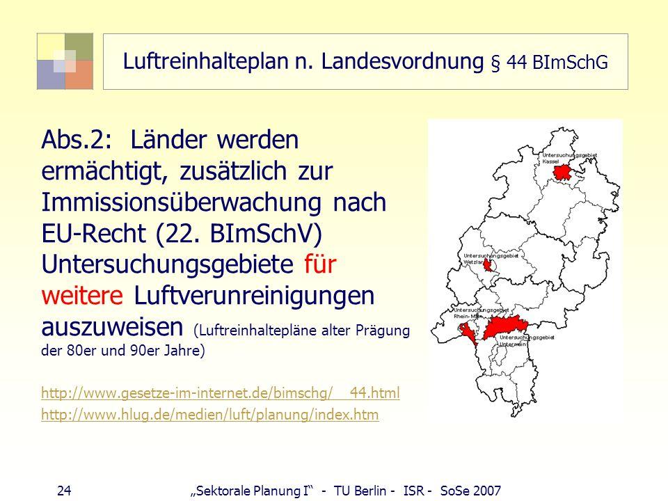 Luftreinhalteplan n. Landesvordnung § 44 BImSchG