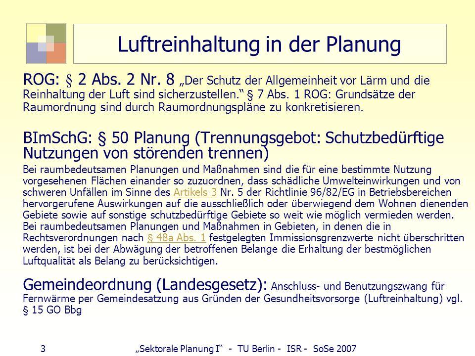 Luftreinhaltung in der Planung