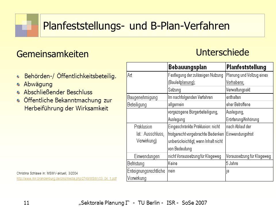 Planfeststellungs- und B-Plan-Verfahren