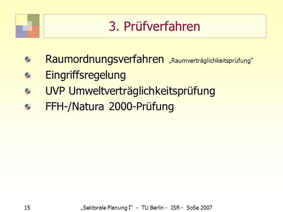 """3. Prüfverfahren Raumordnungsverfahren """"Raumverträglichkeitsprüfung"""