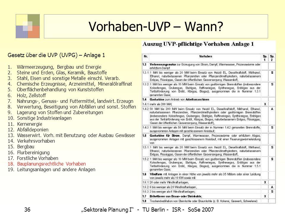 Vorhaben-UVP – Wann Gesetz über die UVP (UVPG) – Anlage 1