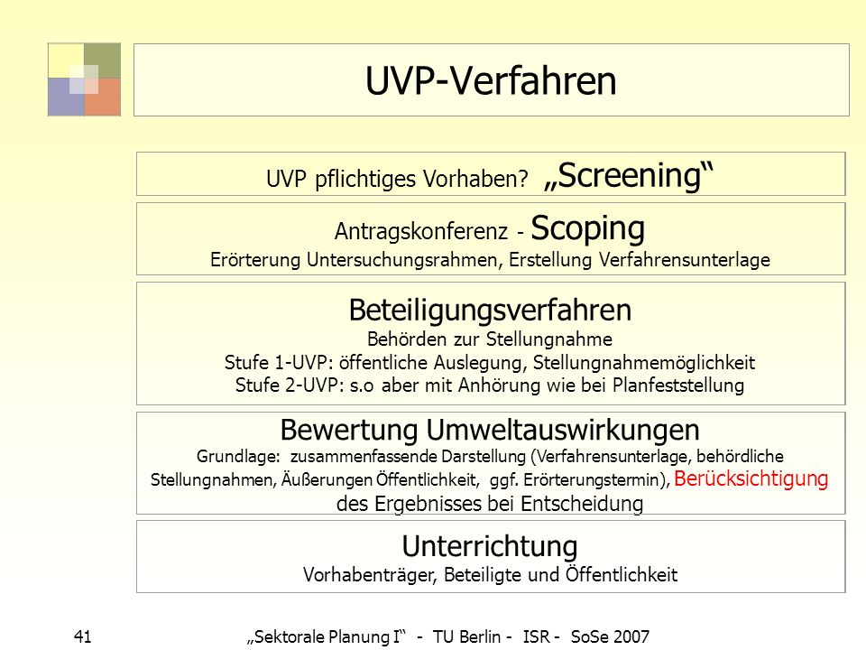 UVP-Verfahren Beteiligungsverfahren Behörden zur Stellungnahme