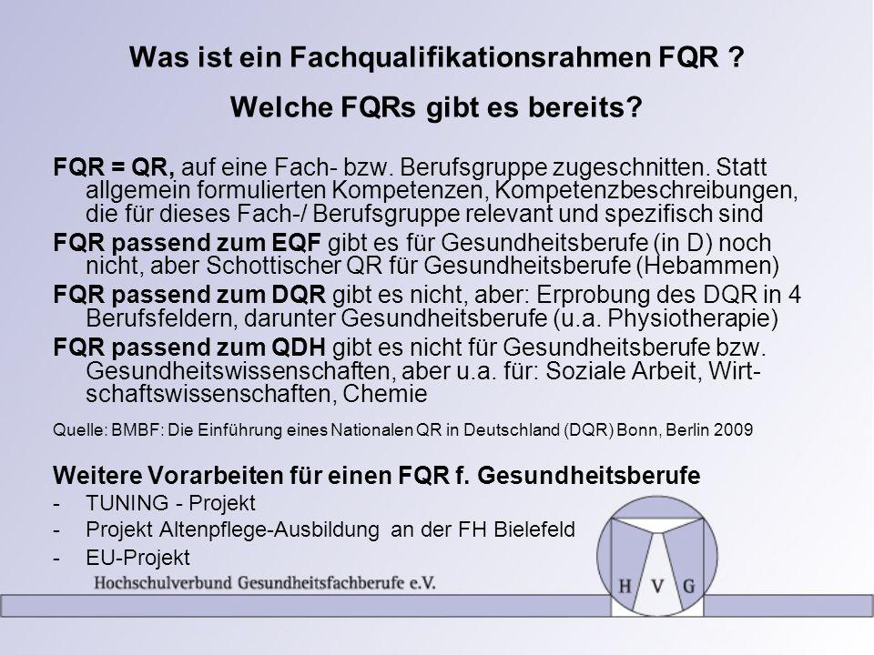 Was ist ein Fachqualifikationsrahmen FQR Welche FQRs gibt es bereits