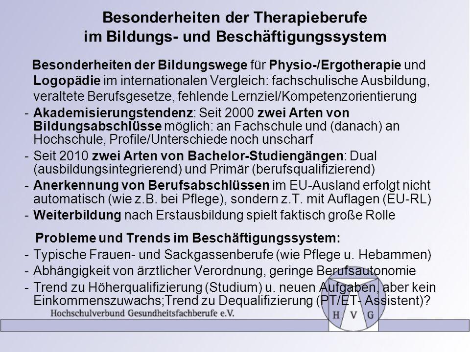 Besonderheiten der Therapieberufe im Bildungs- und Beschäftigungssystem