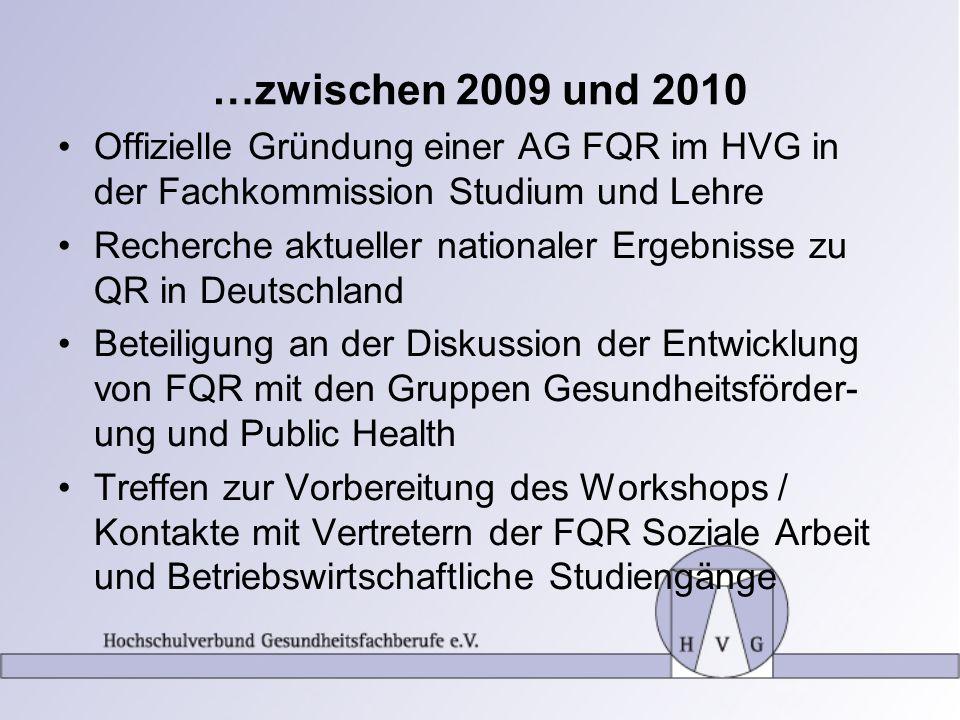 …zwischen 2009 und 2010 Offizielle Gründung einer AG FQR im HVG in der Fachkommission Studium und Lehre.