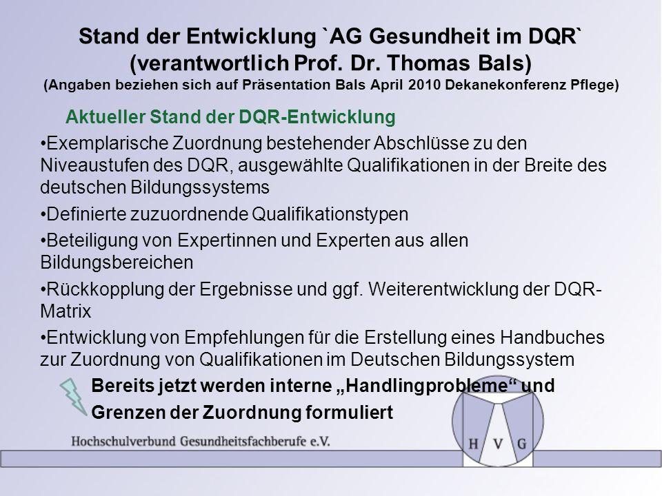 Stand der Entwicklung `AG Gesundheit im DQR` (verantwortlich Prof. Dr