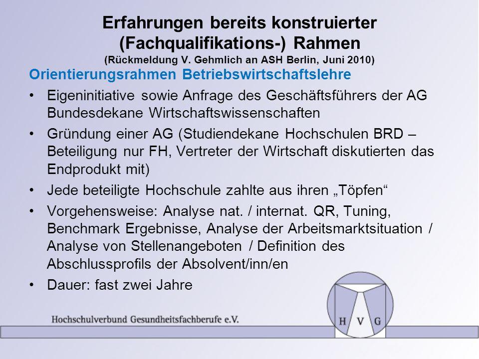Erfahrungen bereits konstruierter (Fachqualifikations-) Rahmen (Rückmeldung V. Gehmlich an ASH Berlin, Juni 2010)