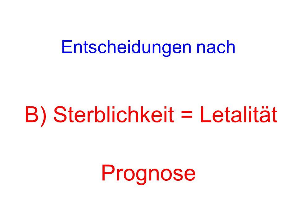 Entscheidungen nach B) Sterblichkeit = Letalität Prognose