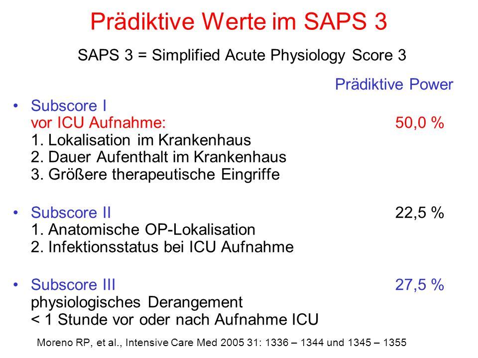 Prädiktive Werte im SAPS 3 SAPS 3 = Simplified Acute Physiology Score 3