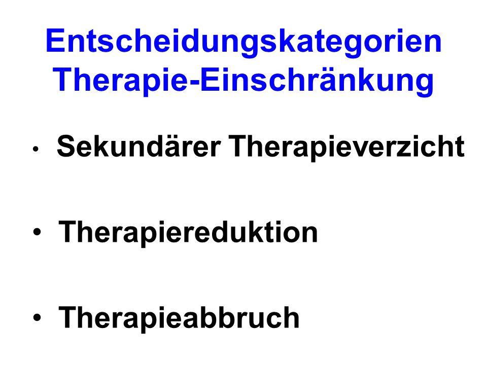 Entscheidungskategorien Therapie-Einschränkung