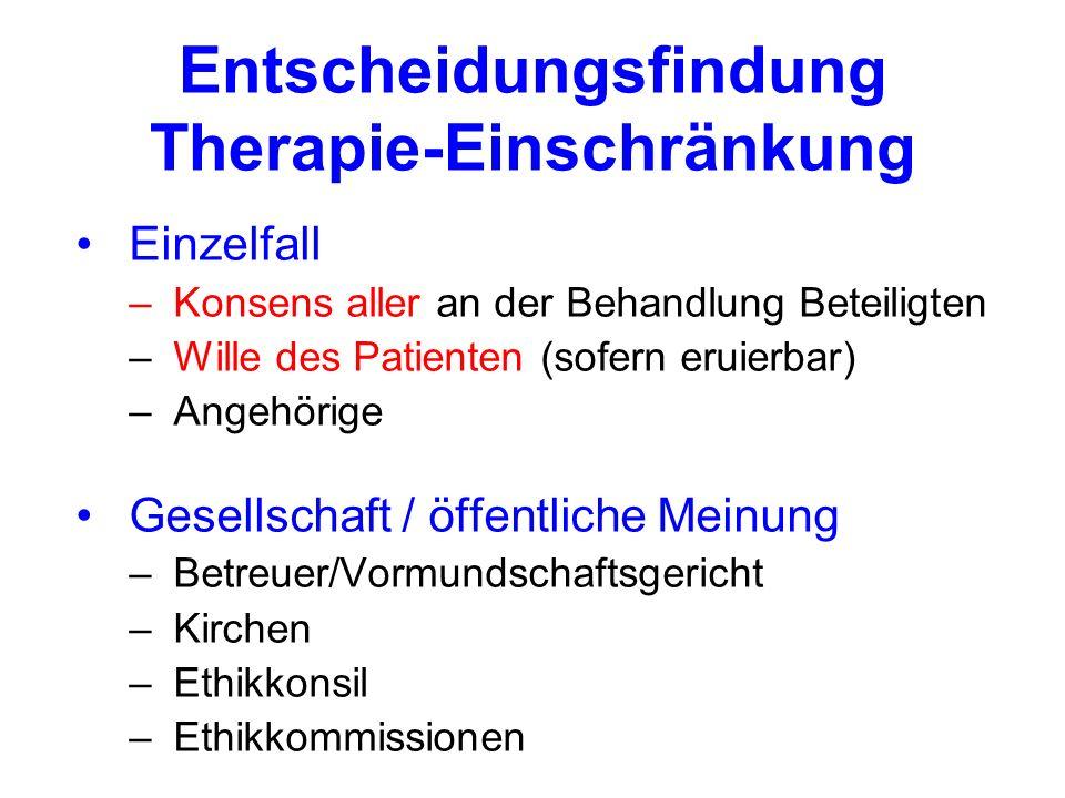 Entscheidungsfindung Therapie-Einschränkung