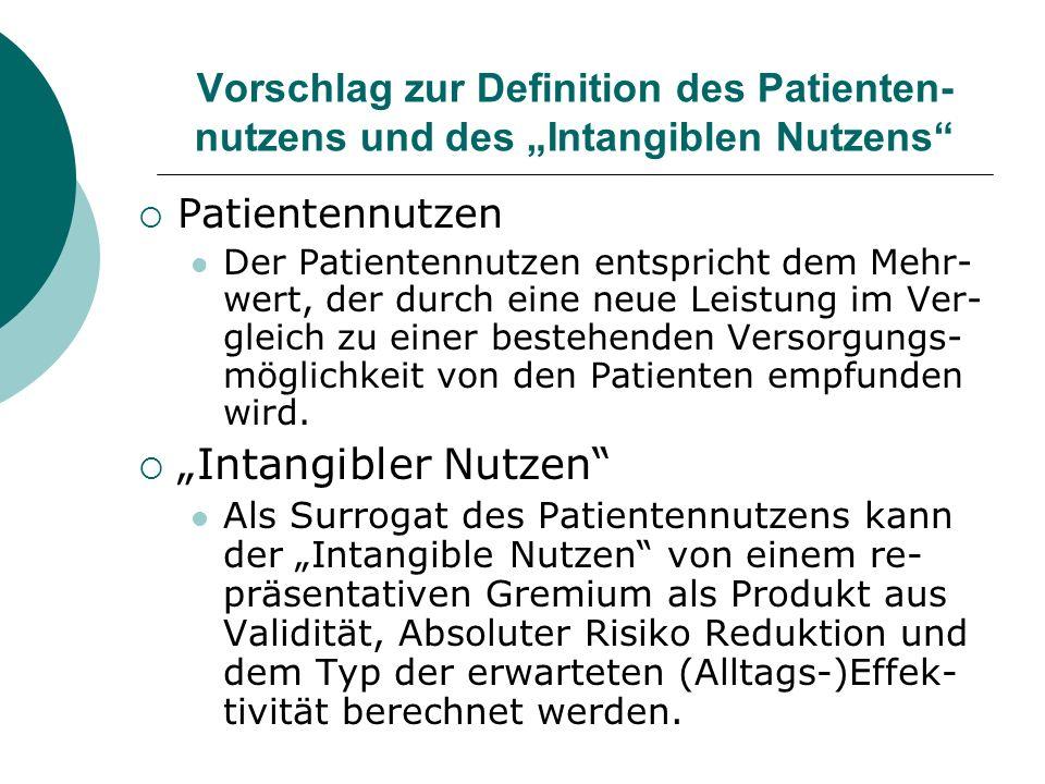 """Vorschlag zur Definition des Patienten-nutzens und des """"Intangiblen Nutzens"""