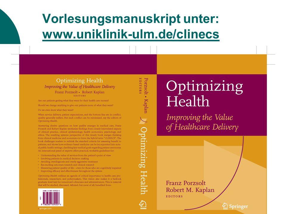 Vorlesungsmanuskript unter: www.uniklinik-ulm.de/clinecs