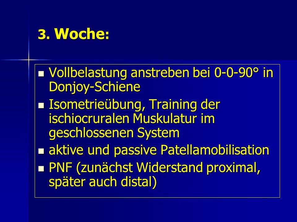 3. Woche: Vollbelastung anstreben bei 0-0-90° in Donjoy-Schiene. Isometrieübung, Training der ischiocruralen Muskulatur im geschlossenen System.