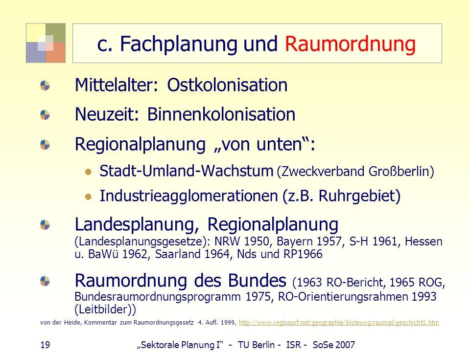 c. Fachplanung und Raumordnung