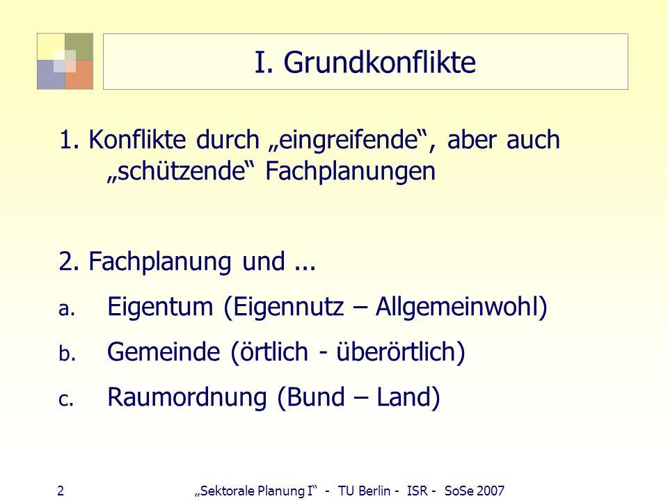 """I. Grundkonflikte 1. Konflikte durch """"eingreifende , aber auch """"schützende Fachplanungen. 2. Fachplanung und ..."""