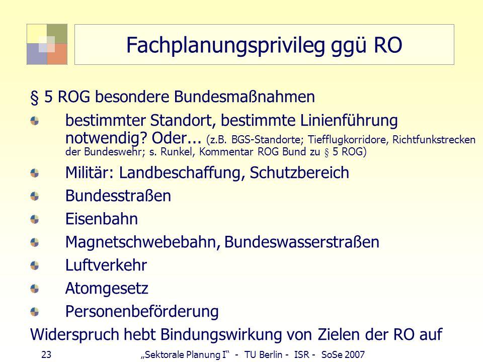 Fachplanungsprivileg ggü RO