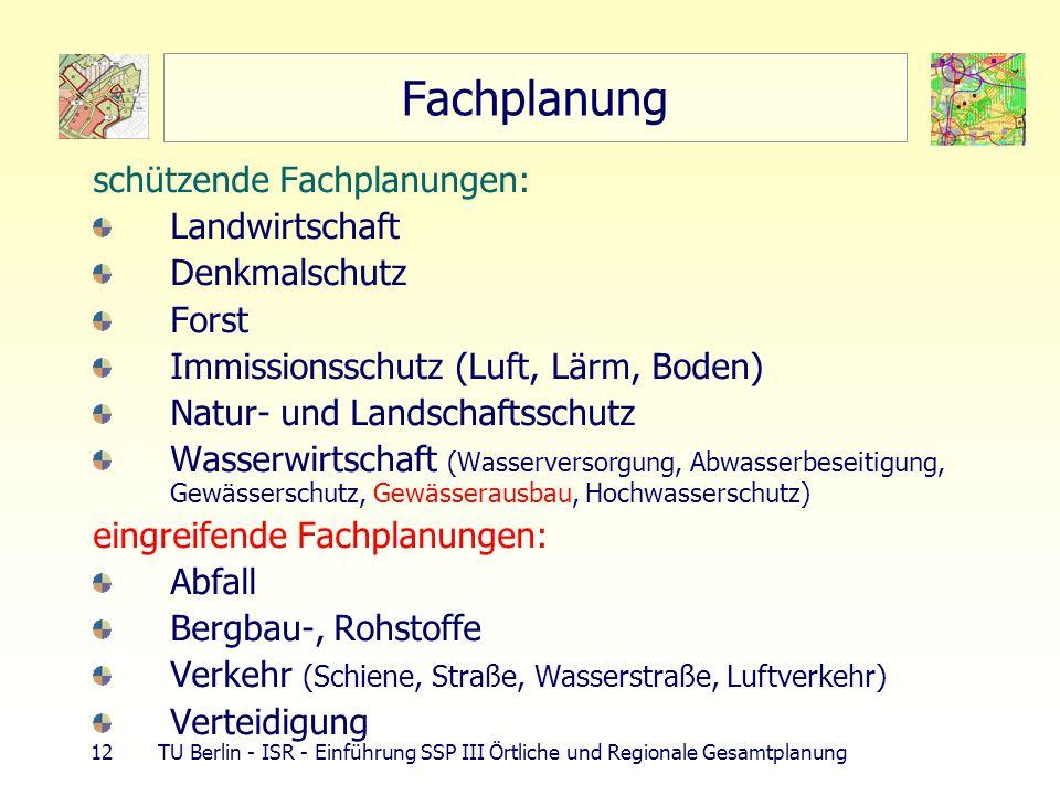 Fachplanung schützende Fachplanungen: Landwirtschaft Denkmalschutz