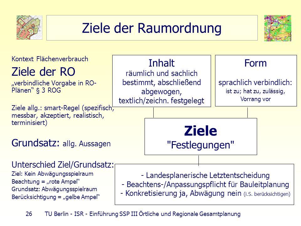 Ziele der Raumordnung Ziele Ziele der RO Grundsatz: allg. Aussagen