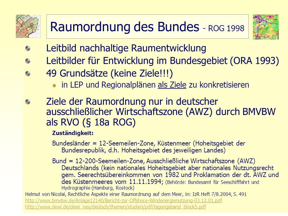 Raumordnung des Bundes - ROG 1998