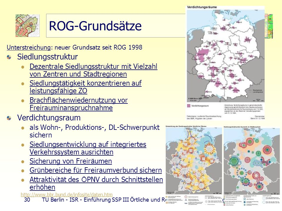 ROG-Grundsätze Siedlungsstruktur Verdichtungsraum